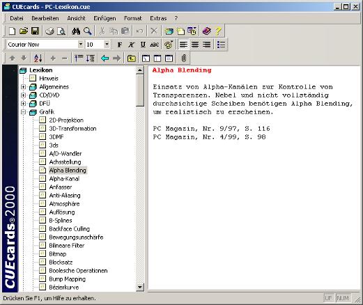 Screenshot vom Programm: CUEcards® 2000